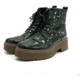 【中古】シュービズコペンハーゲン shoe biz copenhagen ブーツ ショート 厚底 レースアップ エナメル 36 緑 /KS32 レディース