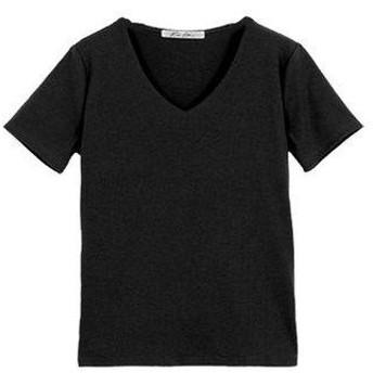 コウベレタス KOBE LETTUCE 前身二重半袖Tシャツ【Vネック】 (ブラック)