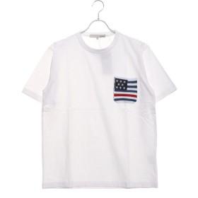 スタイルブロック STYLEBLOCK 空紡糸天竺ジャガードニットポケットTシャツ (ホワイト×星条旗)