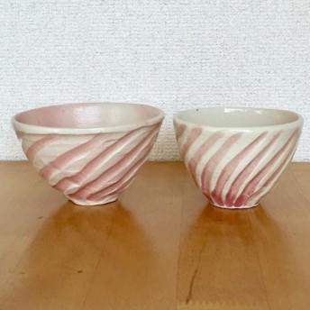 桜のかくれんぼ 螺旋削りペアお茶碗