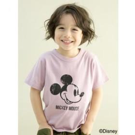 ビー・ルーム/DISNEY ミッキーマウスデザインかすれプリントTシャツ