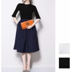 韓国 ファッション レディース パーティードレス 結婚式 お呼ばれドレス セットアップ 夏 春 パーティー ブライダル naloE865 ハイネック