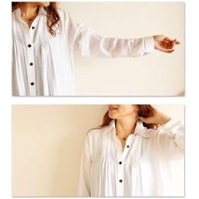 シャツ - Sawa a la mode デザインポケットのしわ加工シャツ。レディース ファッション トップス シャツ 羽織り 長袖 ホワイト フリーサイズ M L LLMサイズ Lサイズ LLサイズ 9号 11号 13号 15号 ブルー Sawa a la mode サワアラモ