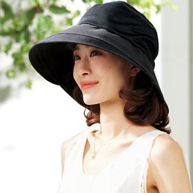 通気性が良いつば広メッシュ帽子 - セシール ■カラー:ブラック