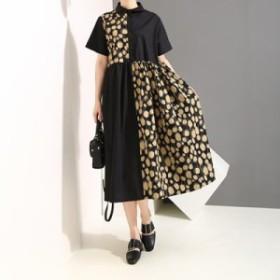 ワンピース レディース 『お得』 半袖 ドット柄 配色 マキシ ロング 大きいサイズ 大人カジュアル 結婚式 40代 ファッション 50代