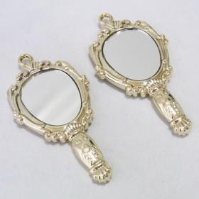 2個入り ミラー 鏡 バラ レリーフ アンティーク 風 ミニチュア チャーム ゴールド
