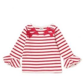 ピューピルハウス/リボンつき袖フリルボーダーTシャツ