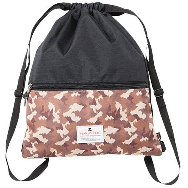 マキャベリック(MAKAVELIC) ナップサック  TRUCKS KNAPSACK   ブラック/サンドマルチ  3105-10118 バックパック タウンユース カジュアル バッグ