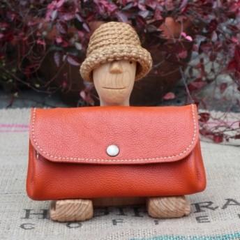 ジャバラの長財布/オレンジ色の本革レザー財布/大きな財布/ハンドメイド財布/かわいい長財布/jaba-orange