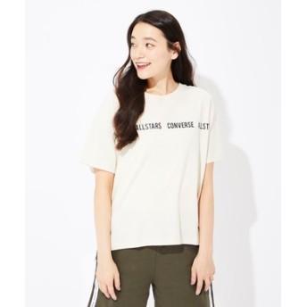 CONVERSE ロゴラインプリントTシャツ レディース ライトベージュ