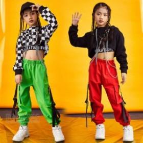 チェック柄パンツ ジャズダンス衣装 キッズ ダンス衣装 ヒップホップ 子供ダンス サルエルパンツ ロングパンツ 体操服 練習着 HIPHOP