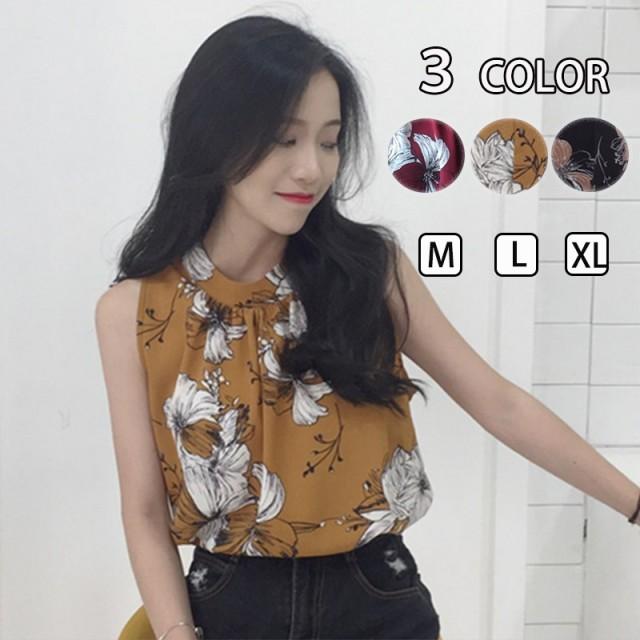 【送料無料!】韓国ファッション ノースリーブ トップス シンプル 大人可愛い 韓国ファッション レディースファッション 花柄 シフォン シャツ