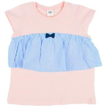 [キッズ]シンプルフリーTシャツ 胸フリル 半袖 サックス ベビー・キッズウェア キッズ(100~120cm) トップス(女児) (69)