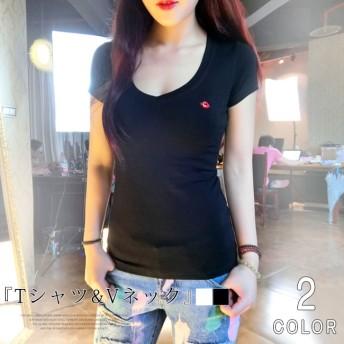 レディース 夏新作 コーディネート Tシャツ コットン 韓国風 Vネック トップス レディースファッション
