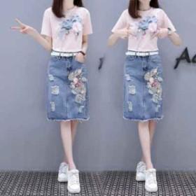 Tシャツ スカート レディース 上下2点セット 半袖 Uネック デニムスカート ダメージ加工 ひざ丈 セットアップ  可愛い 通