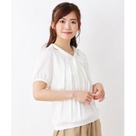スープ シルキー切替ボウタイシャツ レディース オフホワイト(003) 11(L) 【SOUP】