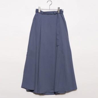 スタイルブロック STYLEBLOCK ガーゼベルト付きフレアスカート (ブルー)
