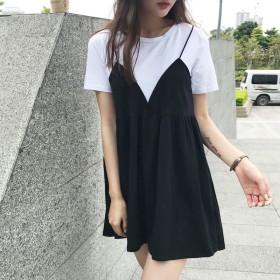 ワンピース - G & L Style レディース スカート シャツ ワンピース ウエスト 大人 カジュアル シンプル ガーリー Tシャツワンピース アンサンブル 6266