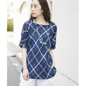 【20%OFF】 ジャンニ ロ ジュディチェ バイヤスチェックシャツ レディース ネイビー L 【GIANNI LO GIUDICE】 【セール開催中】