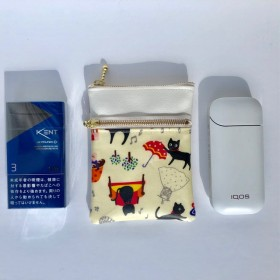 IQOS(タバコ)(gloグロー)ケース後ろポケット付き2段ファスナーポーチねこ柄