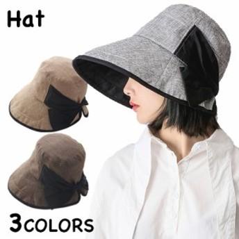 帽子 レディース つば広 UVカット ハット 紫外線 日よけ おしゃれ 無地 リボン付き