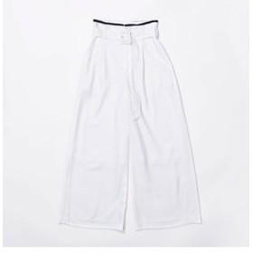【GUILD PRIME:スーツ・ネクタイ】【LOVELESS】WOMEN リネンライク ホワイトワイドパンツ
