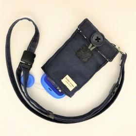 【ぷるる・キッズ向けケータイカバー(ポケット付):ネックストラップセット】デニム×ストライプ(グレー) PDS0135S