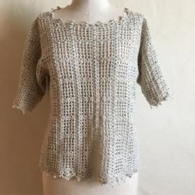 麻入り糸の五分袖サマーセーター