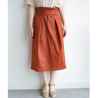 haco! ボタンがポイントのカジュアルにもきれいにもはけるセミタイトスカート(オレンジ)