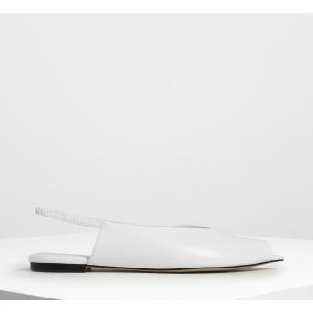 ポインテッドピープトゥ スリングバックフラット / Pointed Peep Toe Slingback Flats (White)