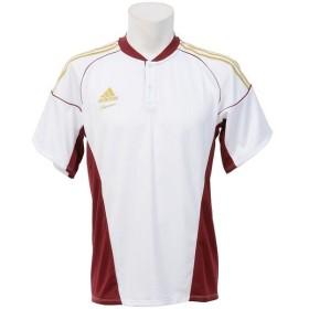 (セール)adidas(アディダス)野球 半袖Tシャツ ADIDAS PRO TR チーム2ボタンシャツ SS Z GYJ76-S16955 メンズ J/L ホワイト/カレッジエイトバーガンディ