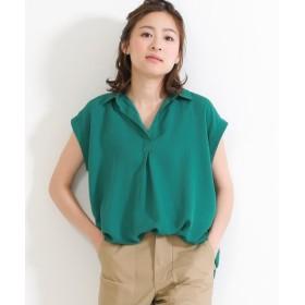 (SocialGIRL/ソーシャルガール)オトナのとろみスキッパーシャツ/レディース グリーン