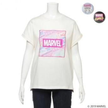 ブルークロス ガールズ/MARVEL 缶バッチ2個セット転写ロゴTシャツ