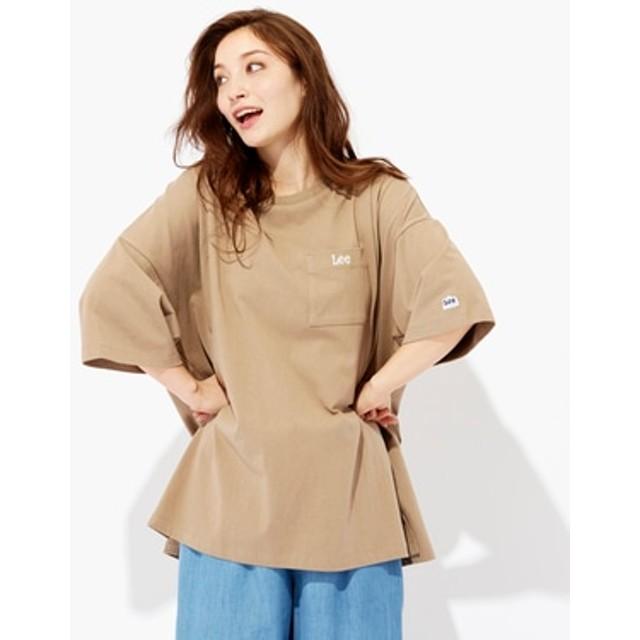 Lee ポケット付きビッグTシャツ レディース ライトブラウン