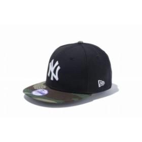 ニューエラ(NEW ERA) Youth 9FIFTY ニューヨーク・ヤンキース ブラック × ホワイト ウッドランドカモバイザー 11308486