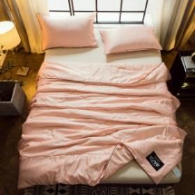 夏が最高 肌掛け布団 接触涼感 洗える肌布団 ひんやり キルトケット シルクのような肌触り 夏布団 収納袋付き ピンク