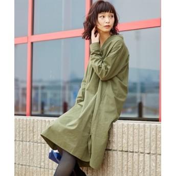 【ゆったりワンサイズ】綿100%スキッパーシャツワンピース (ワンピース),dress