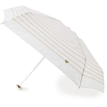 ITS' DEMO(イッツデモ) ボーダー&ハート刺しゅう晴雨兼用ミニ傘