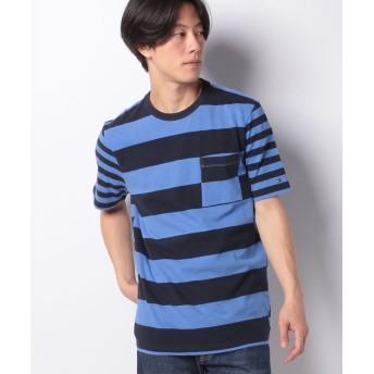 【50%OFF】 トミーヒルフィガー ボーダーポケットTシャツ メンズ ネイビー M 【TOMMY HILFIGER】 【セール開催中】