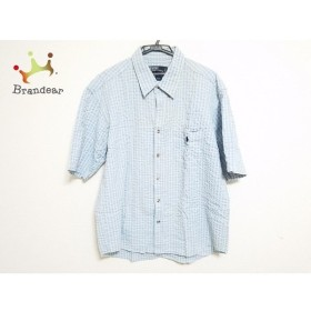 ポロラルフローレン 半袖シャツ メンズ ライトブルー×白×オレンジ チェック柄   スペシャル特価 20190902