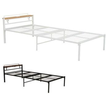 ベッド シングルベッド コンセント付き 棚 スチールフレーム パイプベッド ( ベッドフレーム スチールベッド シングル フレーム )