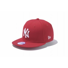 【ニューエラ公式】キッズ 9FIFTY ニューヨーク・ヤンキース スカーレット × ホワイト 男の子 女の子 52 - 55.8cm MLB キャップ 帽子 11308482 NEW ERA