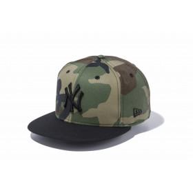 【ニューエラ公式】 9FIFTY ニューヨーク・ヤンキース ウッドランドカモ × ブラック ブラックバイザー メンズ レディース 57.7 - 61.5cm MLB キャップ 帽子 11308466 NEW ERA