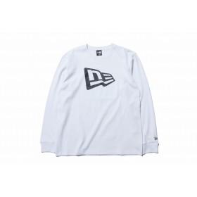 【ニューエラ公式】 長袖 コットン Tシャツ フラッグロゴ ホワイト × ブラック メンズ レディース Small 長袖 Tシャツ 11783082 NEW ERA