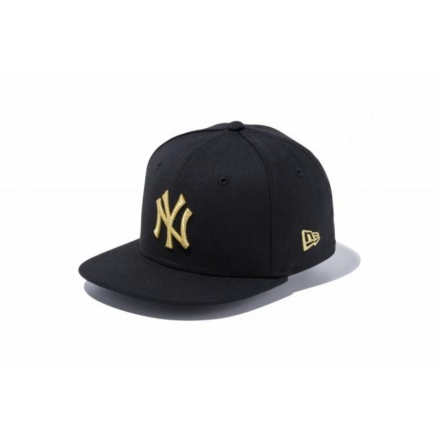 【ニューエラ公式】キッズ 9FIFTY ニューヨーク・ヤンキース ブラック × ゴールド 男の子 女の子 49.2 - 53cm MLB キャップ 帽子 11596319 NEW ERA