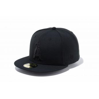 NEW ERA ニューエラ 59FIFTY ロサンゼルス・エンゼルス ブラック × ブラック ベースボールキャップ キャップ 帽子 メンズ レディース 7 (55.8cm) 70474755 NEWERA