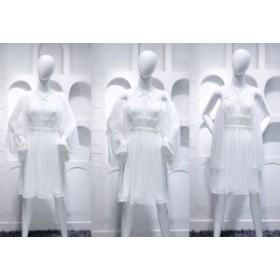 2018サマードレス私は歌手の張Qihn白い模造シルクシフォンクロス襟ショールも衣類