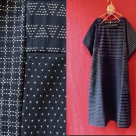 刺し子風 刺繍パッチワーク 半袖ワンピース 藍色