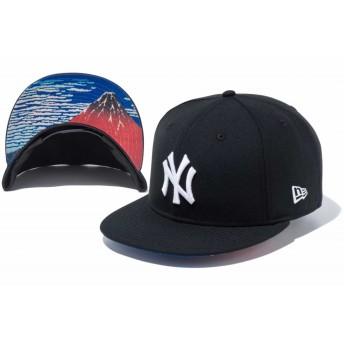 NEW ERA ニューエラ 9FIFTY 浮世絵 葛飾北斎 凱風快晴 ニューヨーク・ヤンキース ブラック × ホワイト スナップバックキャップ アジャスタブル サイズ調整可能 ベースボールキャップ キャップ 帽子 メンズ レディース 57.7 - 61.5cm 11916008 NEWERA