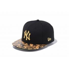 【ニューエラ公式】キッズ 59FIFTY ニューヨーク・ヤンキース ブラック × メタリックゴールド バイザーステッカーオールオーバーバイザー 男の子 女の子 6 3/4 (53.9cm) MLB キャップ 帽子 11899082 NEW ERA